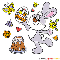 Bunny with Easter Egg Clipart - Obraz