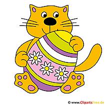 Katze mit Osterei Clip Art