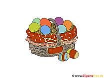 イースターエッグのバスケット - イースターのクリップアート