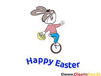 イースターの面白い写真 - イースターのウサギは自転車に乗るクリップアート