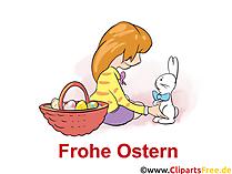 少女とイースターのウサギ - グリーティングカード、ベクトルクリップアート、イラスト、画像