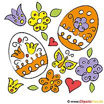 イースター絵の卵と花