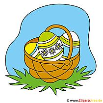 Ostereier im Korb Clipart