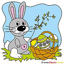 イースターのウサギとイースターエッグのクリップアート