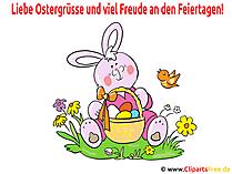 Osterkarte - Osterhase mit Osterkorb