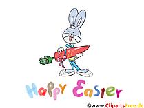 Ostern Bilder lustig - Osterhase mit Möhre lächelt