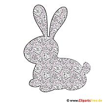 Siluet tavşan - Paskalya için resim