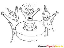 Zwart-wit verjaardagsfeestje met clip art