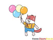Kater met ballonnen grappige clipart naar het feest