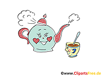 Teekanne und Tasse Cartoon, Bilder, Grafiken