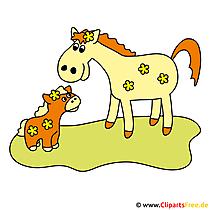 無料で母親の写真と子馬