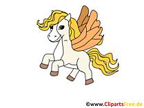 翼のイメージ、クリップアート、漫画の馬