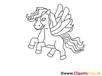 Pferd mit Flügel zum Ausmalen