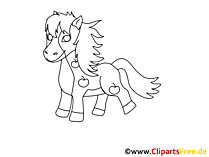 Paard tekenen voor afdrukken en kleuren