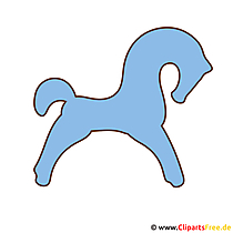 青いシルエットの馬