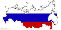 Fahne, Landkarte, Russland