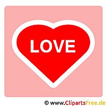 Liefde clipart met rood hart