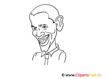 Obama Zeichnung, Cartoon, Karikatur
