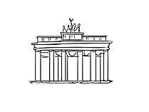 De poort van Brandenburg in Berlijn bij Pariser Platz-Tekening, kunstwerk