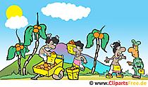 Cartoon illustratie van koffie plantage foto