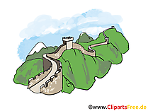 Grote muur van China afbeelding, clipart, illustratie, gratis grafische kunst