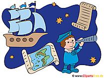Christopher Kolumbus Amerika_s Entdeckung Illustration, Clipart, Bild