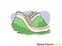 Grote muur illustraties, foto, Cartoon