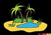 ヤシの木の島クリップアート、画像、漫画