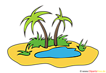 Eiland met palmbomen Clipart, foto, tekenfilm