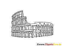 コロシアム、イタリア、ローマのイメージ、デッサン、無料クリップアート