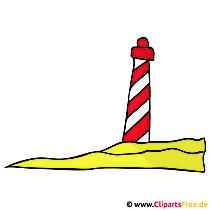Vuurtoren clipart, beeld, grafisch beeldverhaal, illustratie