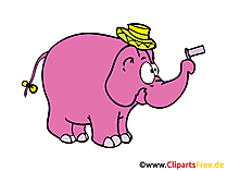 Lustiger Elefant Comic, Cartoon, Illustration, Clipart