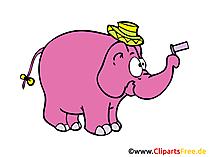 Lustiger Elefant Comic, Cartoon, Illustration, Clipart