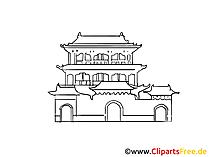 中国宮殿画像、デッサン、無料クリップアート