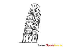 Pisa toren afbeelding, tekening, gratis clipart