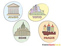 Prag, Athen, Tokyo, Rom Cliparts