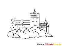 城の絵、デッサン、無料クリップアート