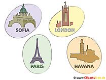 Foto's van Sofia, Parijs, Londen, Havana