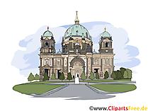 Berlin Cathedral illustrasjon akvarell - bilder med severdigheter