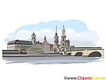 Dresden illustrasjon - byer i Tyskland utklipp