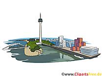 Düsseldorf severdigheter som illustrasjoner for utskrift
