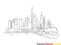 Frankfurt skyline svart-hvitt tegning, bilde, utklipp