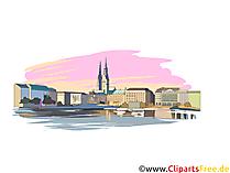 Hamburg-illustrasjon for utskrift - Tyske bybilder
