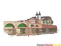 Heidelberg Illustrasjon - Tyske byer utklipp