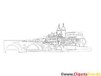 Heidelberg illustrasjon svart og hvitt