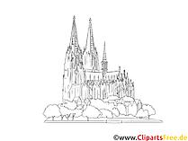 Katedral Cologne menggambar hitam dan putih