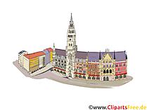 Munich Marienplatz - Ilustrasi dengan pemandangan