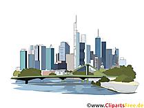 Pencakar langit di Frankfurt, gambar pencakar langit, kawasan bisnis di megapolis clipart