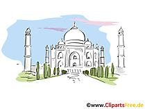 Taj Mahal illustraties, afbeelding, tekenfilm