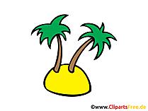 Tropische Insel mit Palmen Bild, Clipart, Illustration